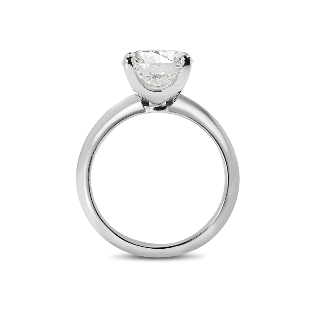 Knife Edge Solitaire Lab Grown Round Diamond Engagement Ring