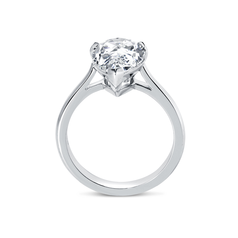 Large Pear Cut Diamond Solitaire Engagement Ring