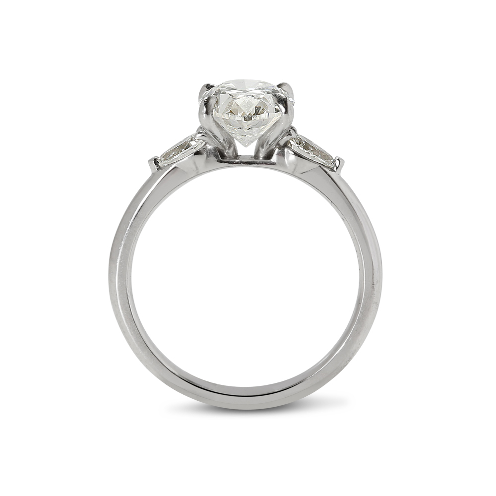 Oval and Pear Side Stones Lab Grown Diamond Engagement Ring