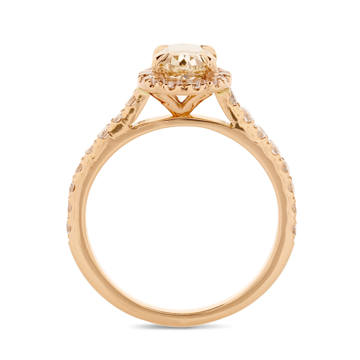 Rose Gold Champagne Oval Cut Diamond Halo Engagement Ring