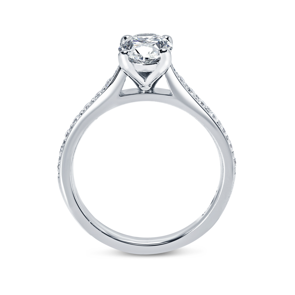 Oval Cut Pave Setting Diamond Engagement Ring