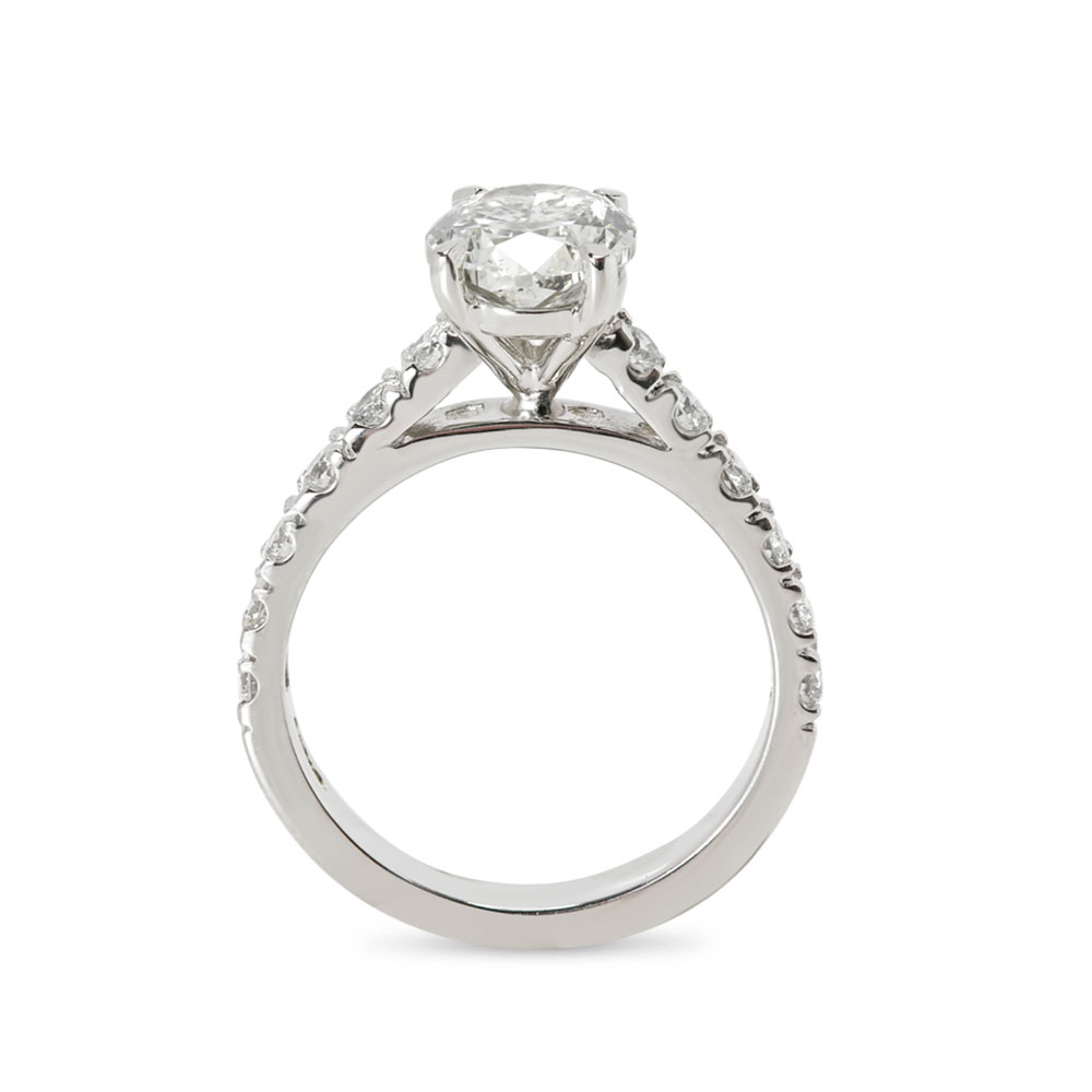 Oval Cut Thick Band Diamond Engagement Ring