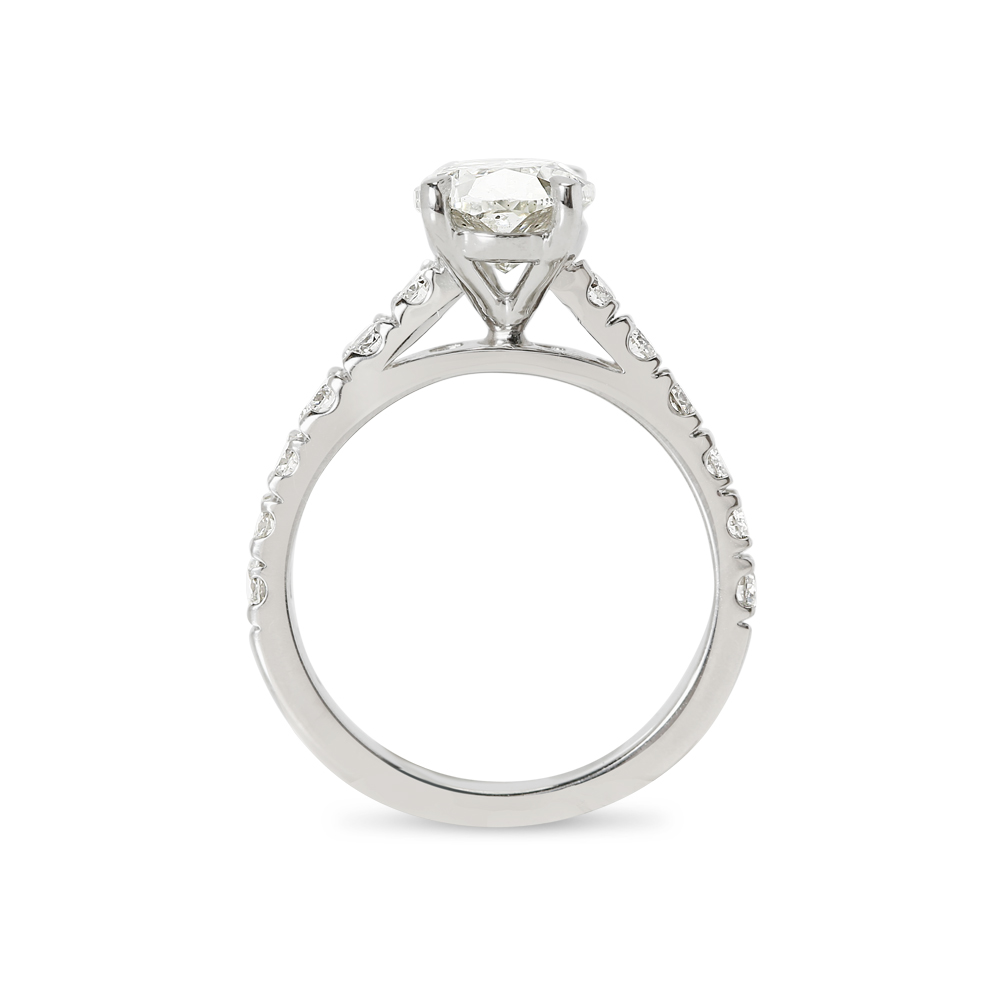 Oval Cut Thick Band Lab Grown Diamond Engagement Ring