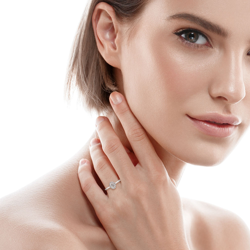 Oval Cut Lab Grown Plain Band Diamond Halo Engagement Ring
