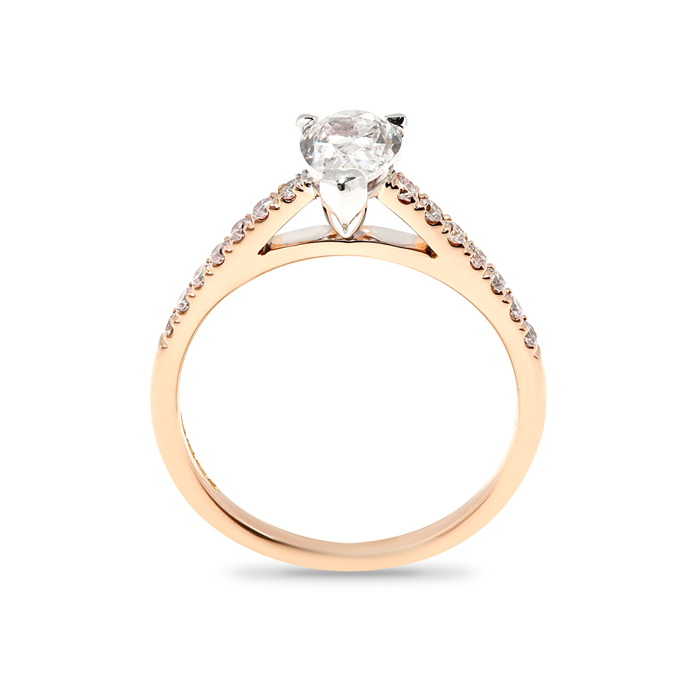 Pear Cut Micro Setting Lab Grown Diamond Engagement Ring