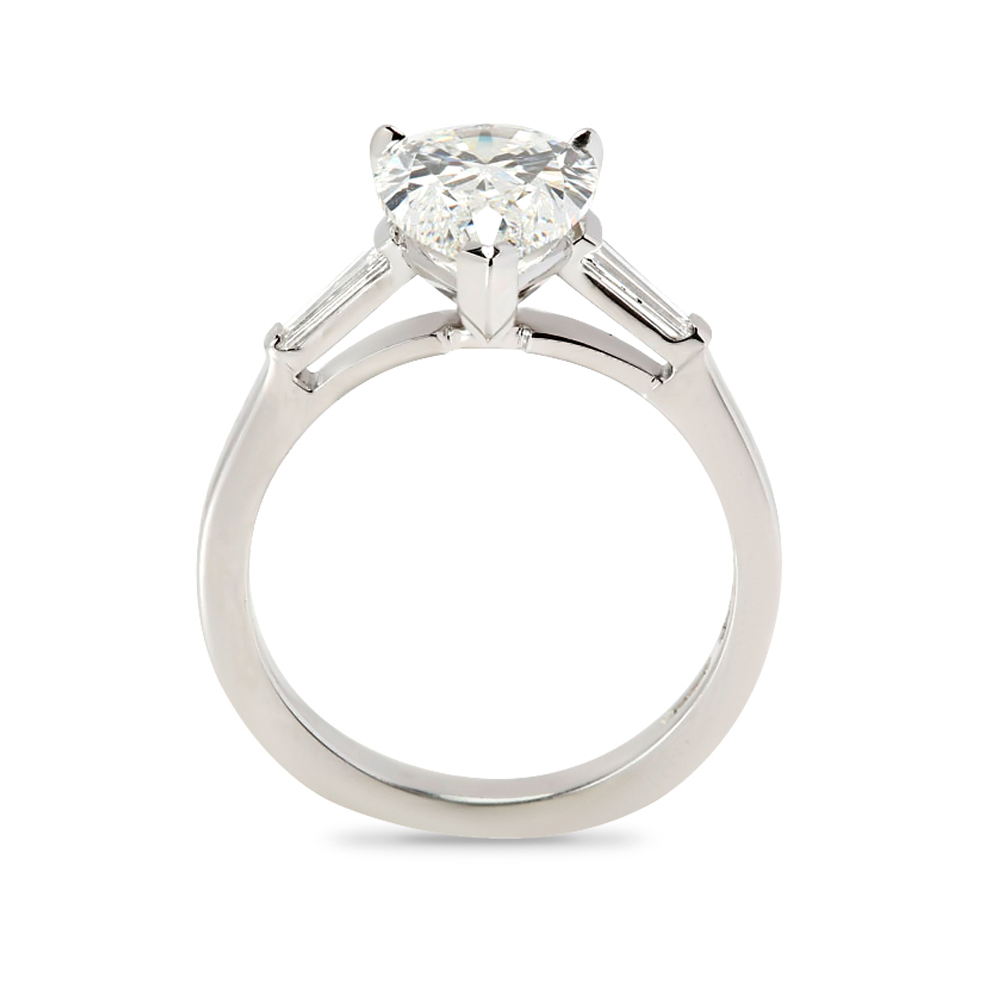 Pear and Tapered Baguettes Design Diamond Engagement Ring