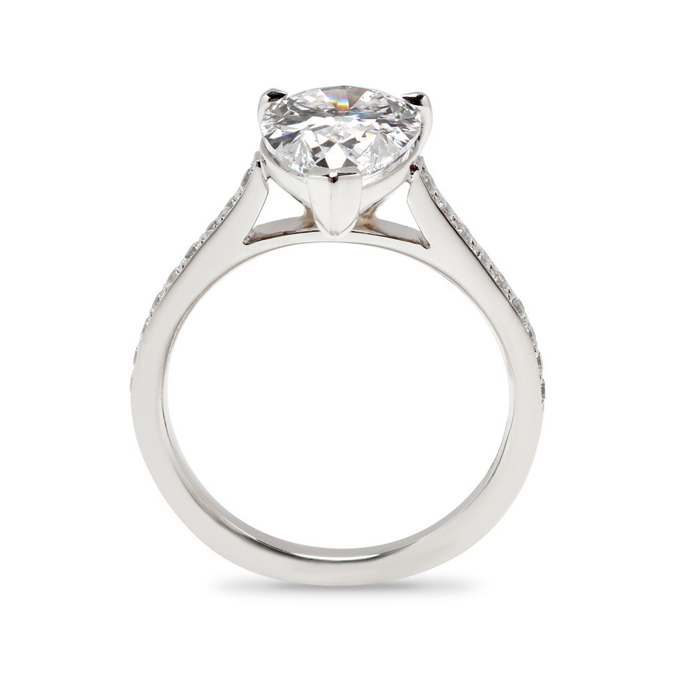 Pear Cut Pave Setting Diamond Engagement Ring