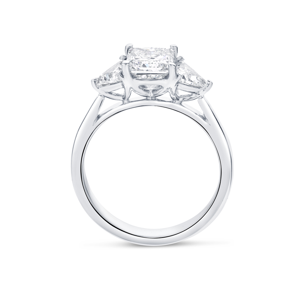 Princess Cut Trilliant Side Stones Trilogy Engagement Ring
