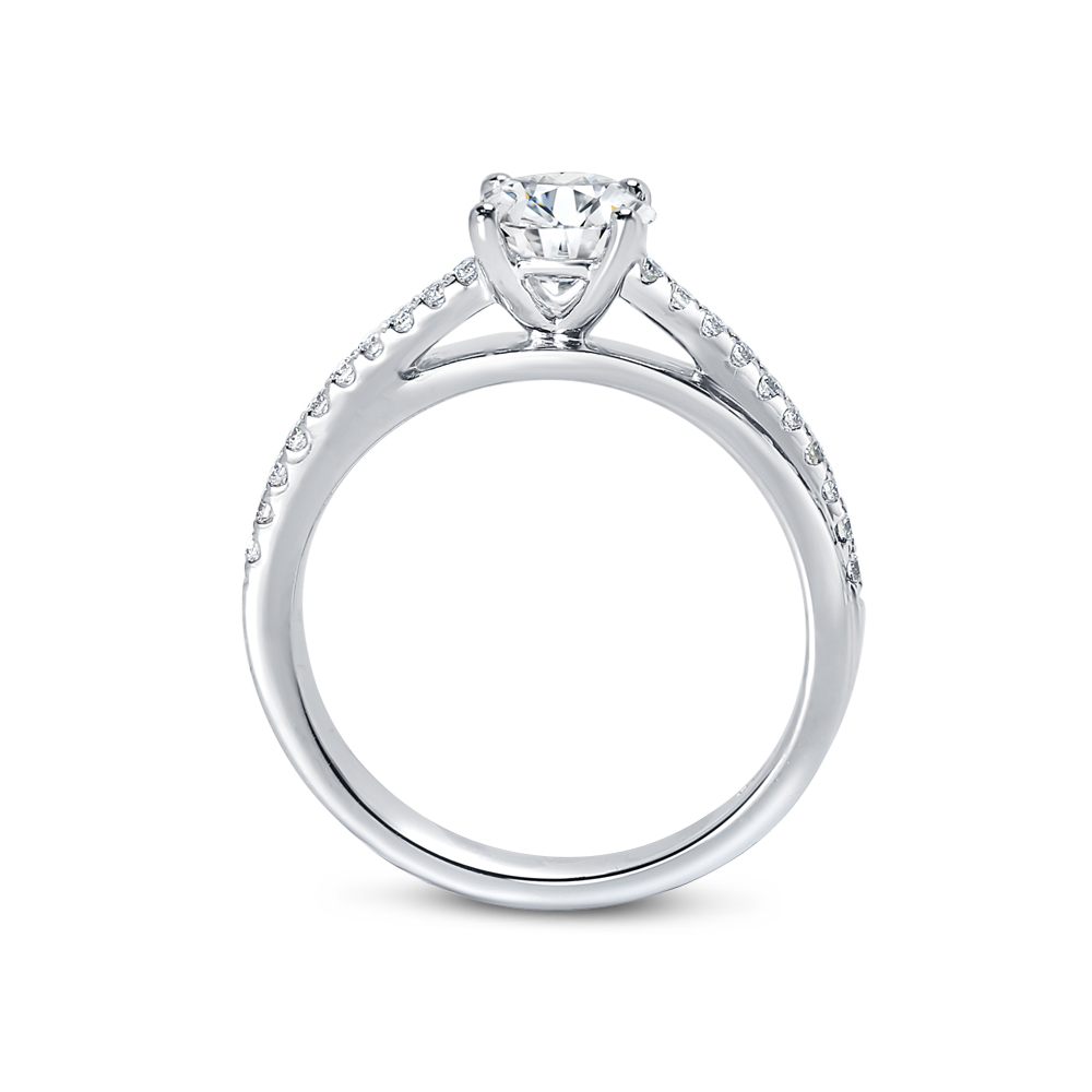 Interweaving Band Four Claw Round Diamond Engagement Ring