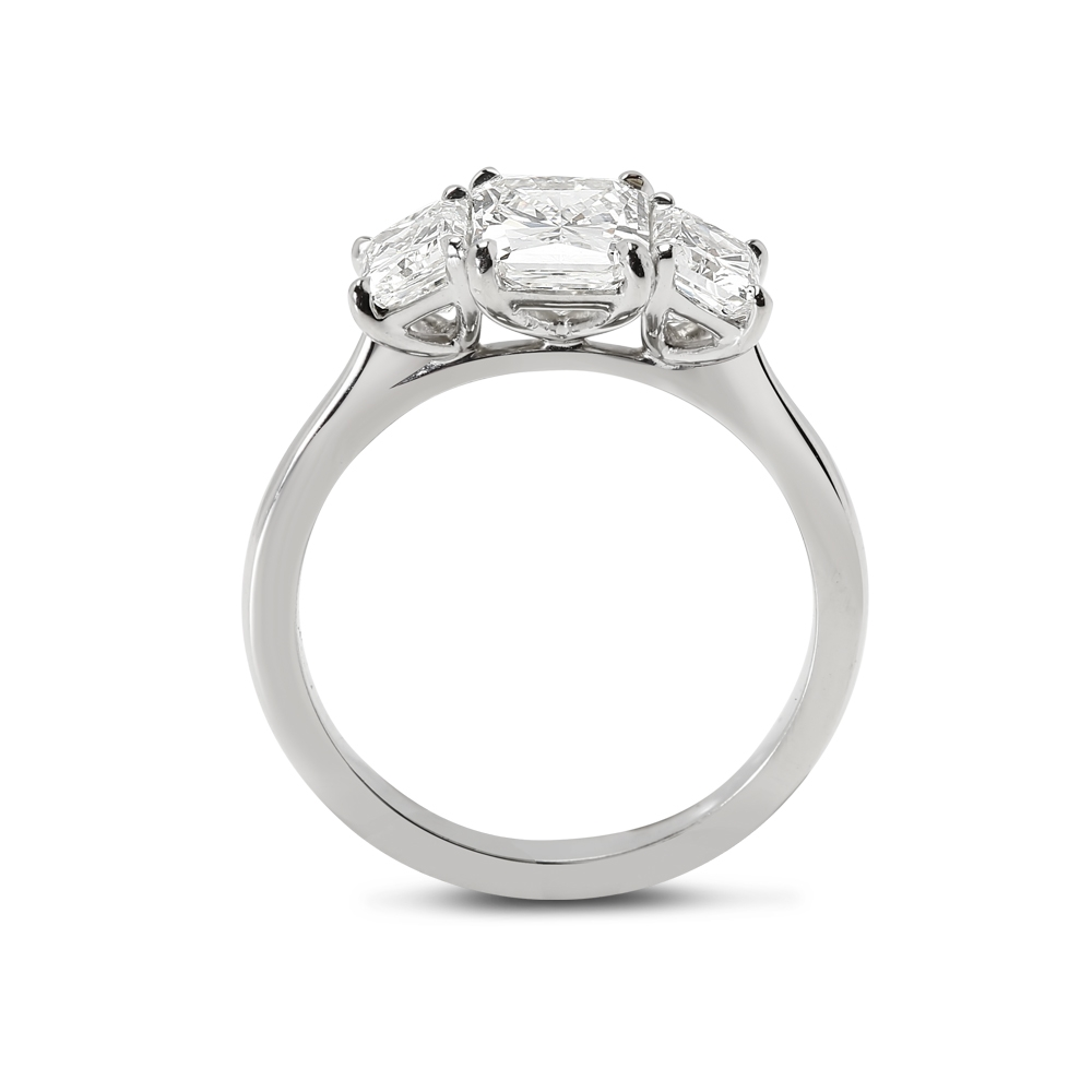 Radiant Cut Trilogy Diamond Engagement Ring