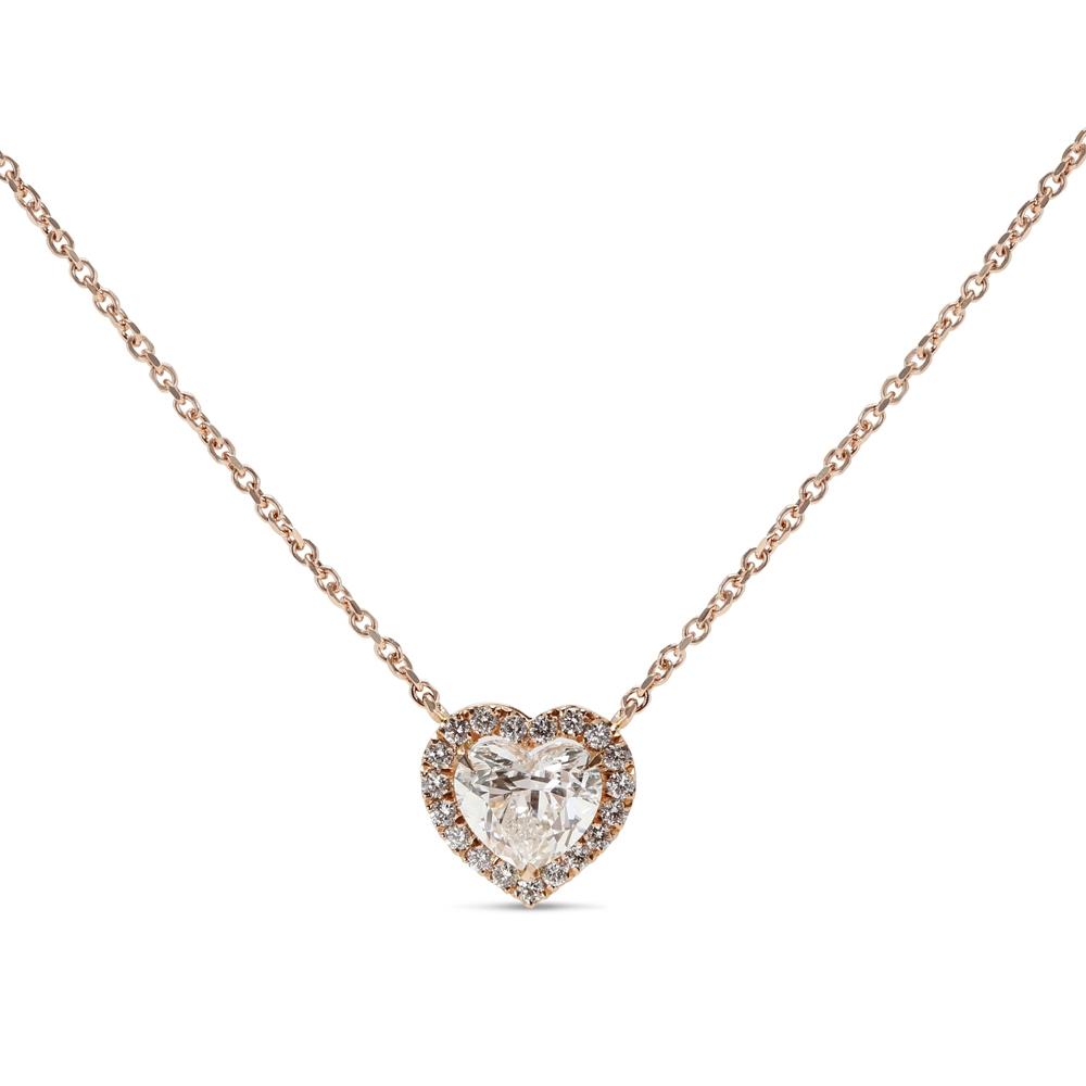 Heart Shape Halo Diamond Pendant