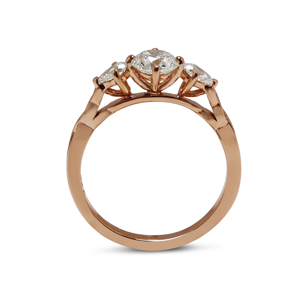 Rose Gold Pear Side Stones Diamond Engagement Ring