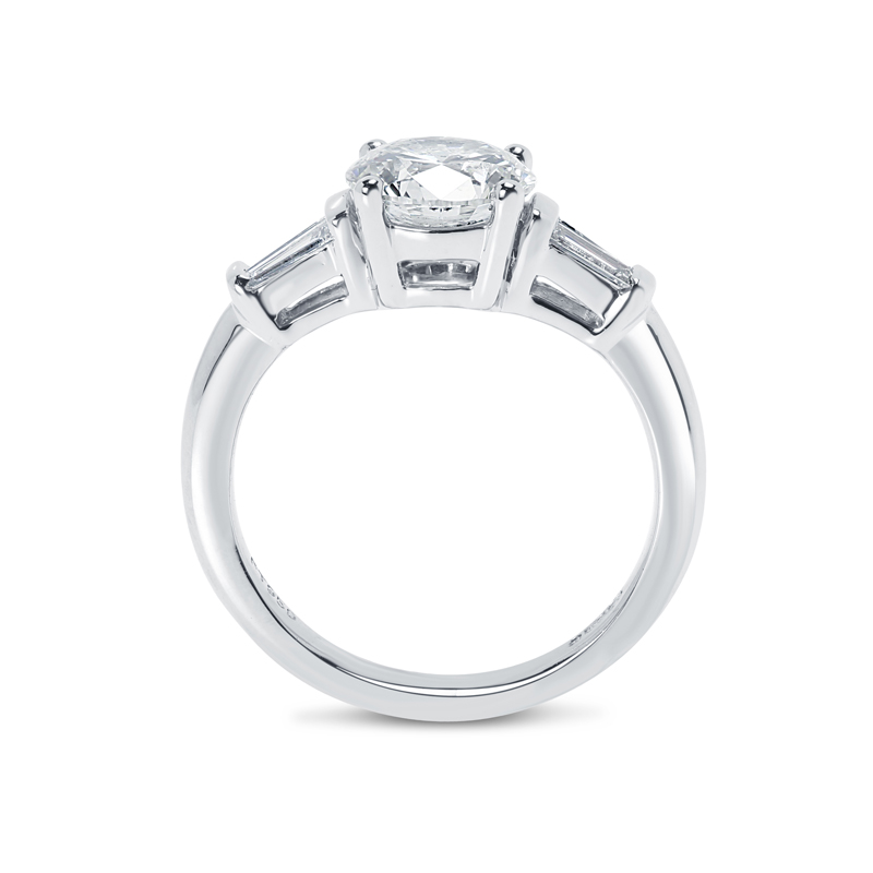 Round and Tapered Baguettes Diamond Engagement Ring