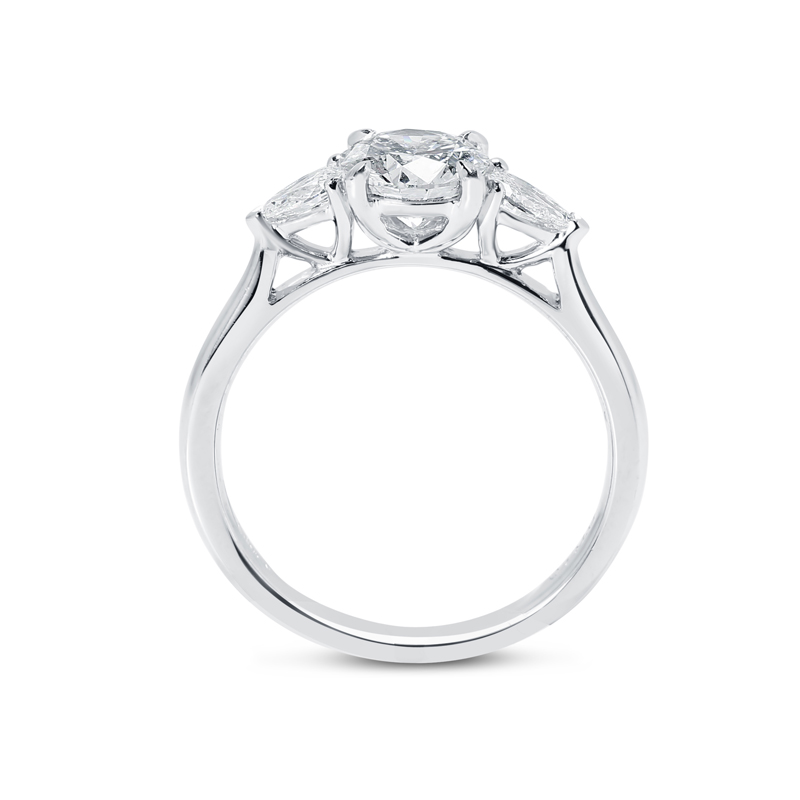 Round Cut and Pear Cut Side Stones Diamond Engagement Ring
