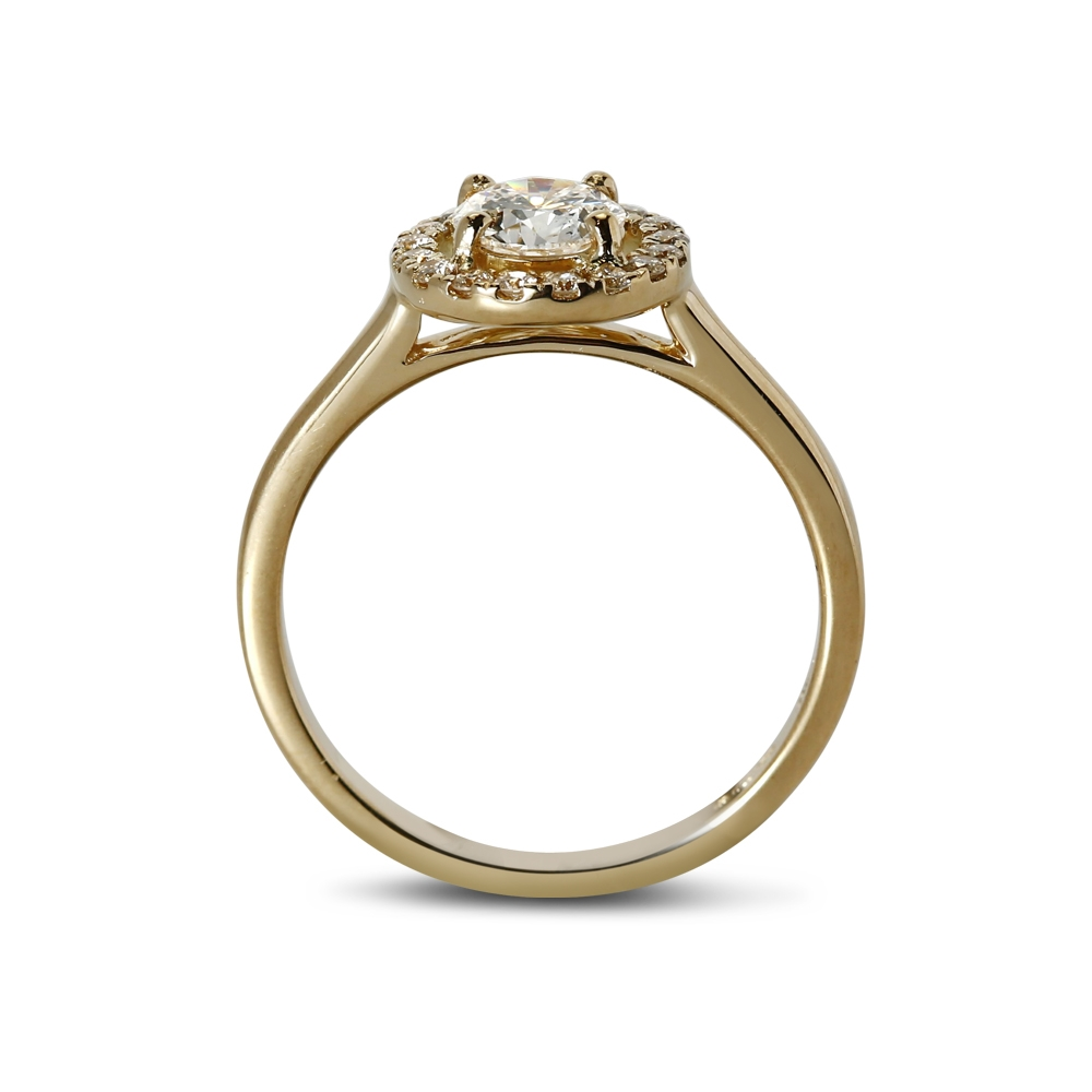 Yellow Gold Round Cut Diamond Halo Engagement Ring