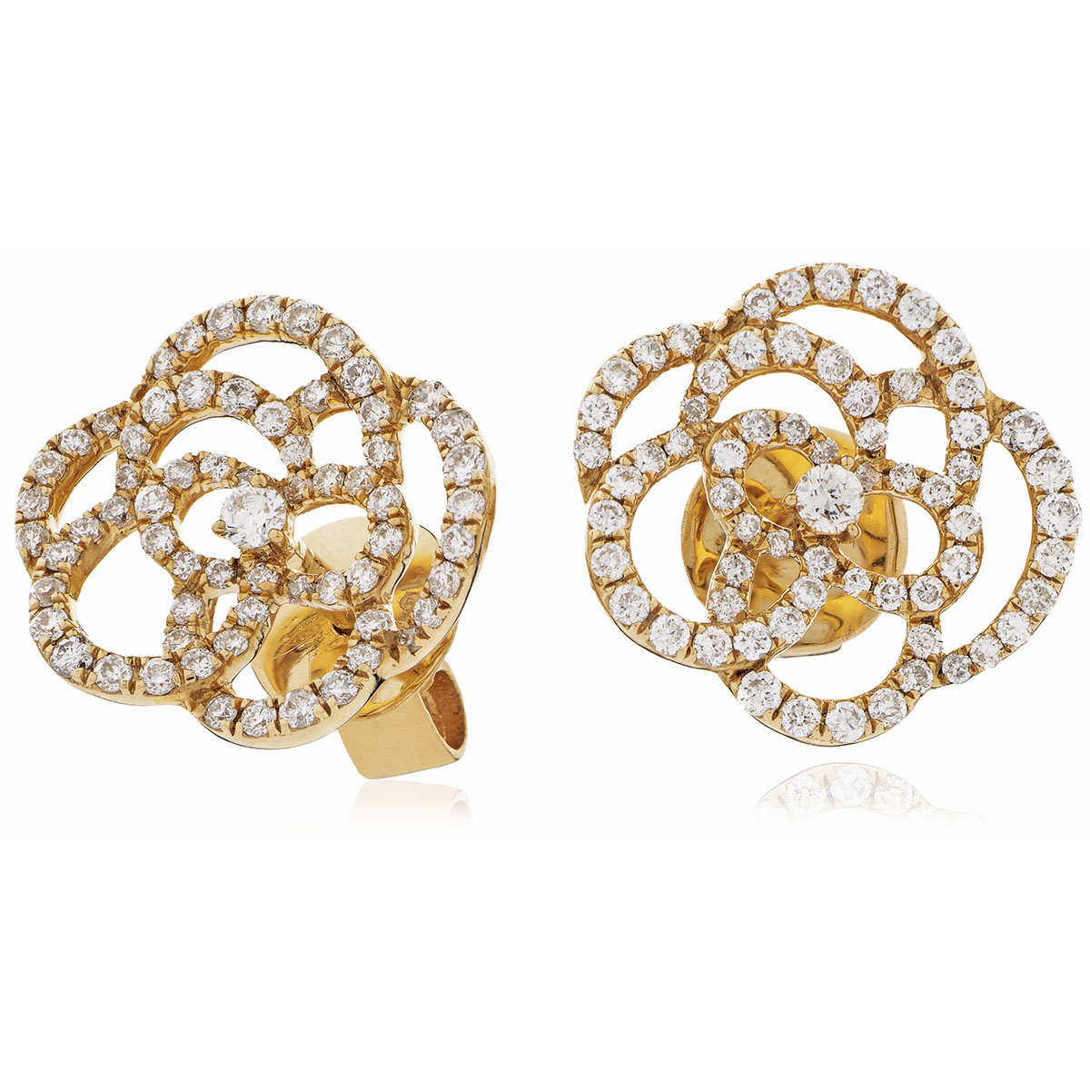 Open Rose Shape Diamond Earrings Studs