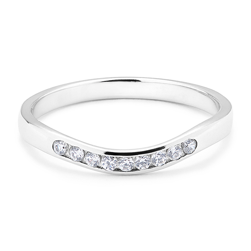 Shaped U Curved Diamond Wedding Ring