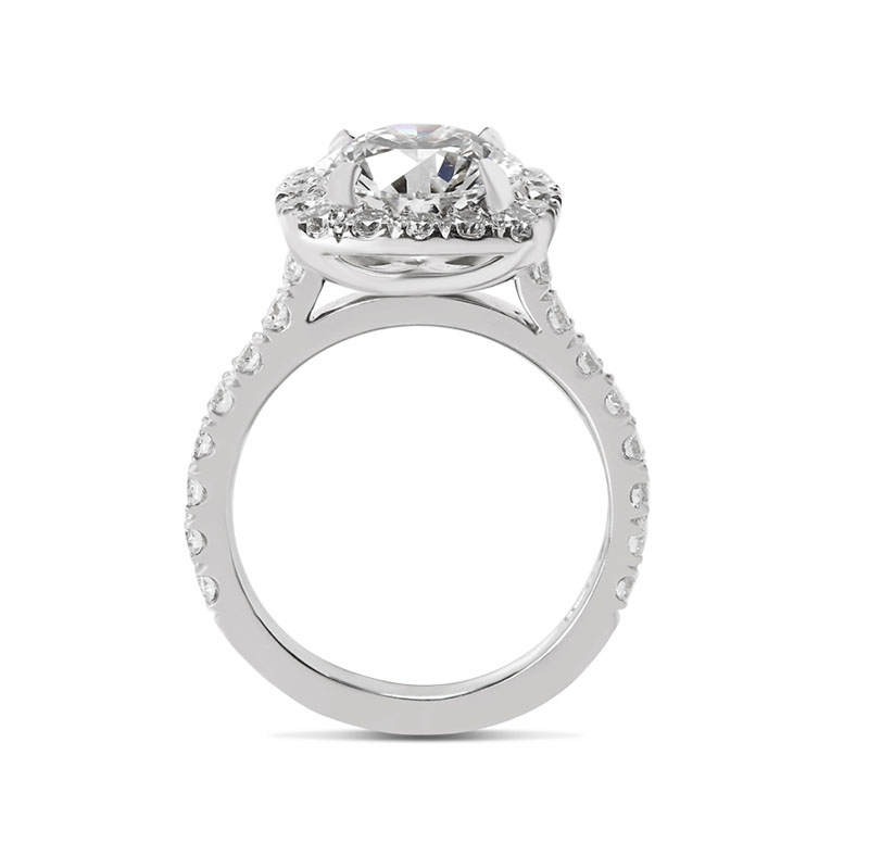 Sharp Corner Halo Diamond Engagement Ring