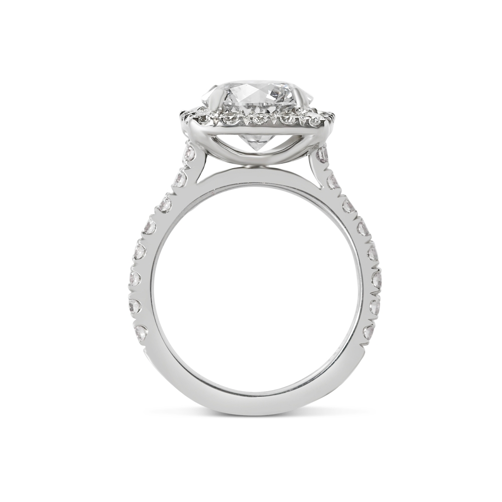 Sharp Corner Halo Lab Grown Diamond Engagement Ring