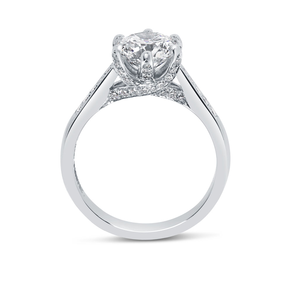 Six Claw Pave Set Collet Round Diamond Engagement Ring