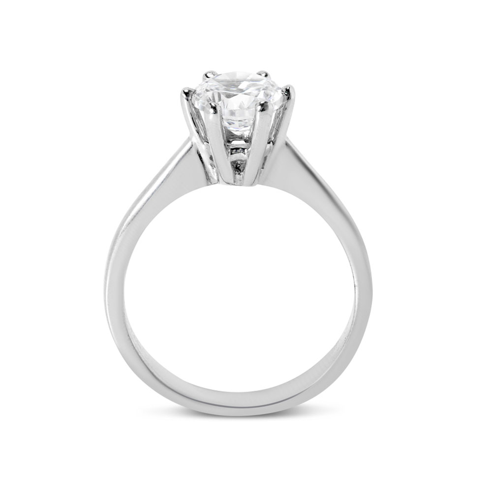 Six Claw Solitaire Round Cut Diamond Engagement Ring