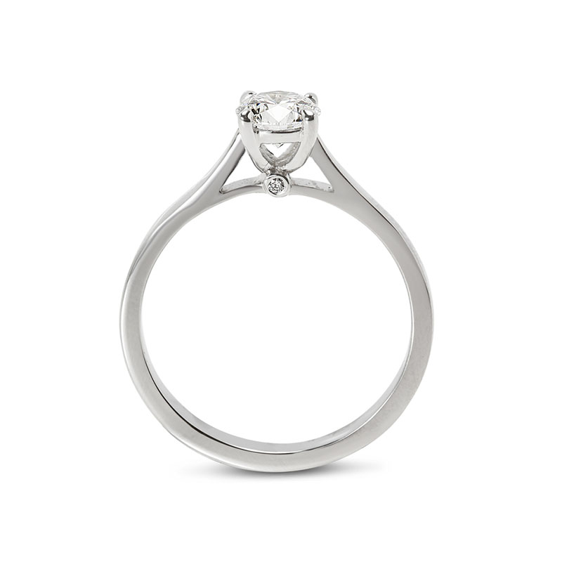 Solitaire Ring with Small Round Diamond Below the Center Stone