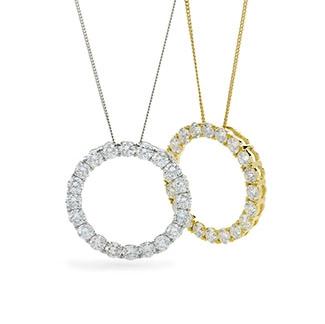 Circle Claw Set Diamond Necklace