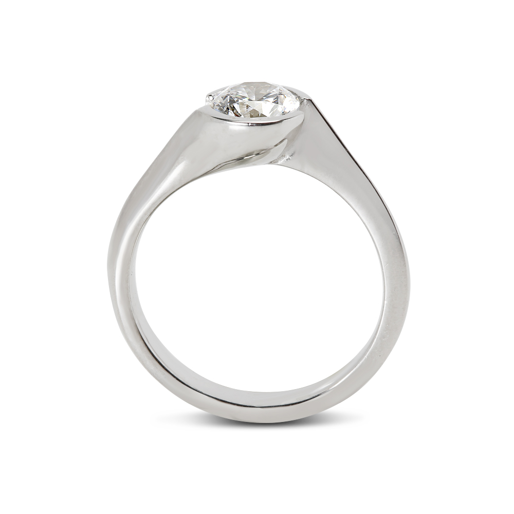 Tension Twist Solitaire Diamond Engagement Ring