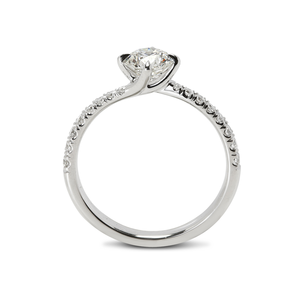 Twist Micro Setting Diamond Engagement Ring