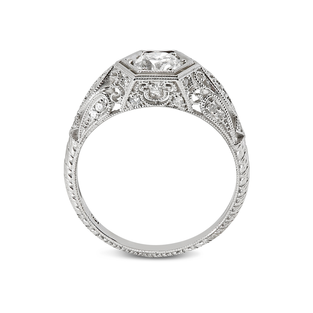 Victorian Style Round Cut Diamond Engagement Ring