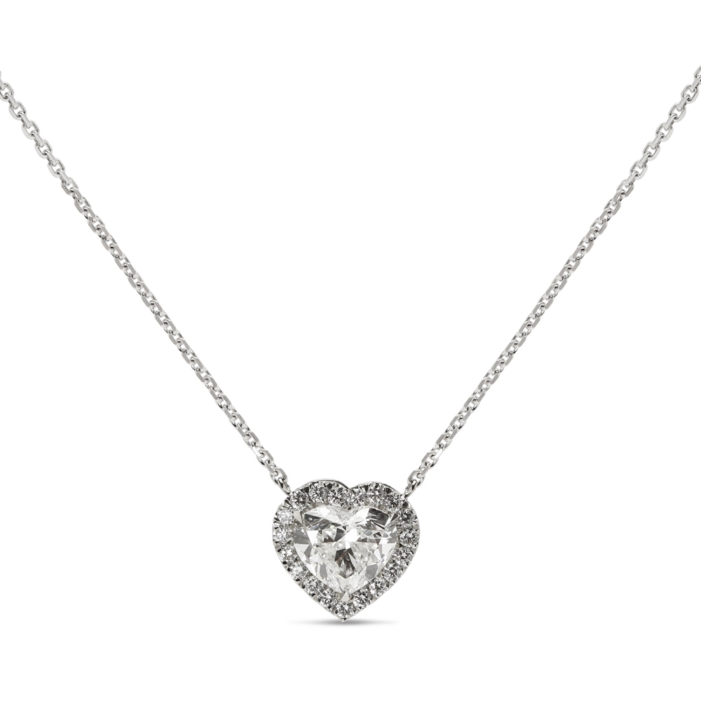 Heart Shape Halo Diamond Pendant