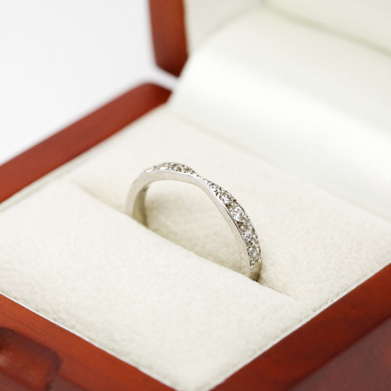 Double Side Curve Pave Setting Diamond Wedding Ring