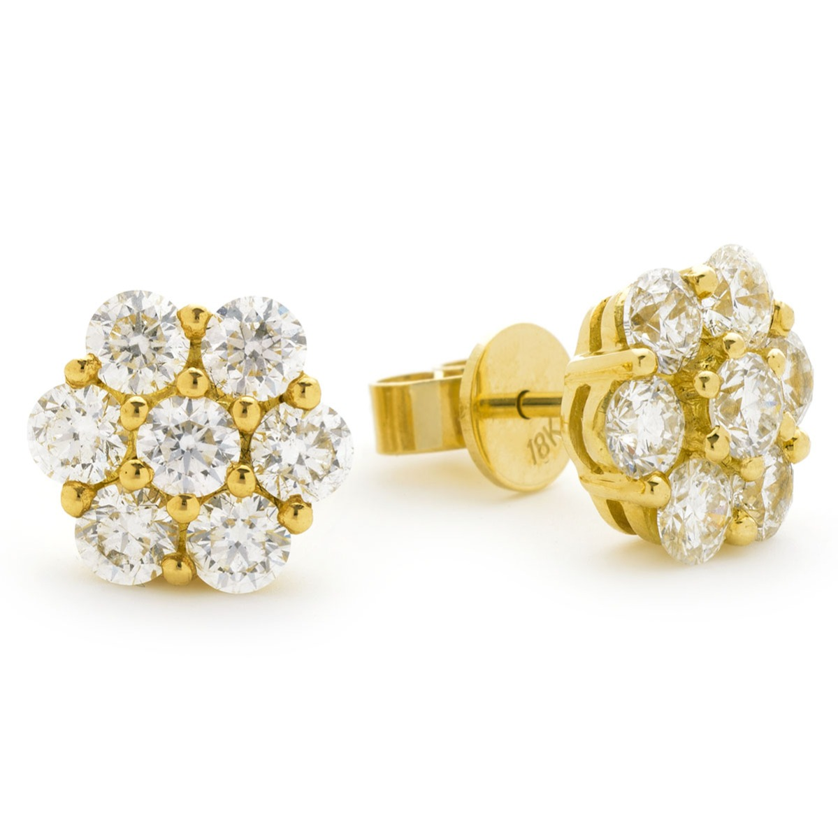 Large Pave Set Diamond Earring Studs