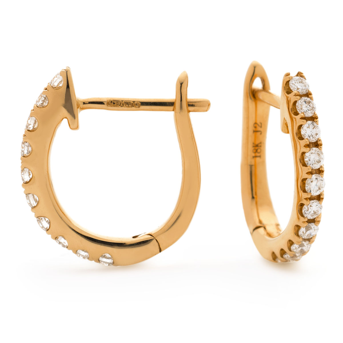 Round Shape Claw Set Hoops Diamond Earrings