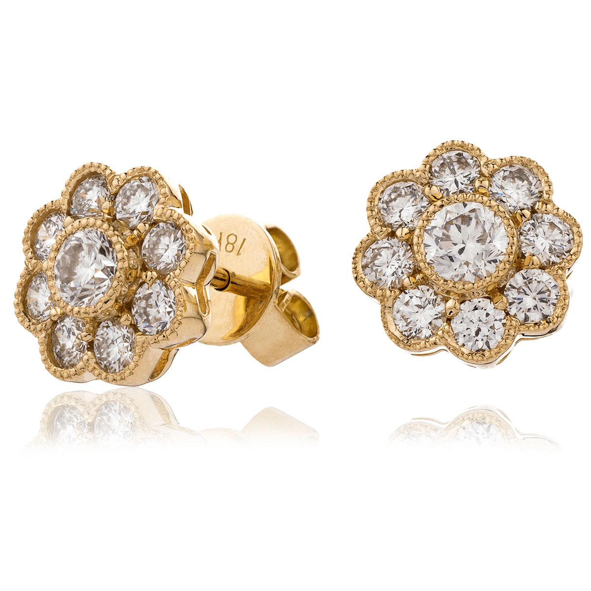 Flower Shape Grain Set Diamond Earring Studs