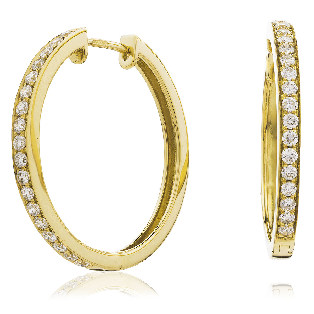 Grain Set Diamond Hoops Earrings
