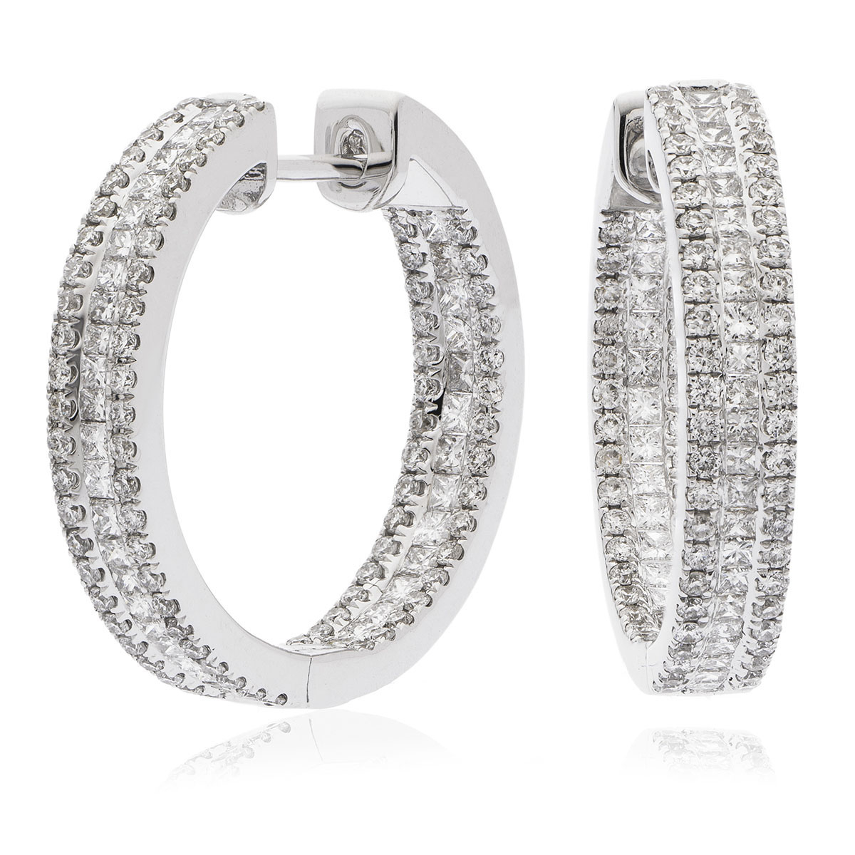 In and Out Princess Cut Three Row Diamonds Hoop Earrings
