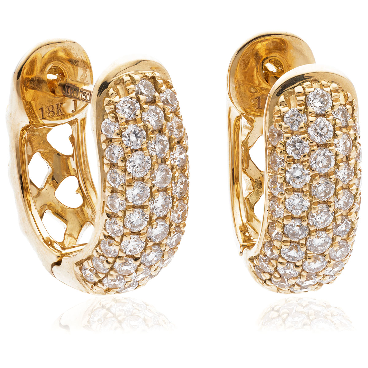 Small 5 Row Pave Diamond Hoops Earrings