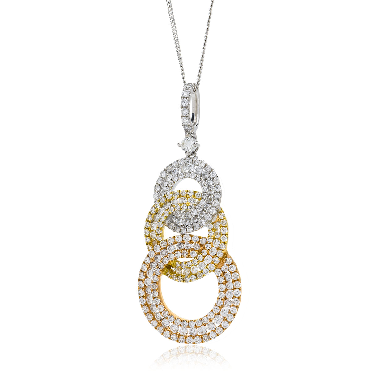 Triple Circle Drop Diamond Pendant