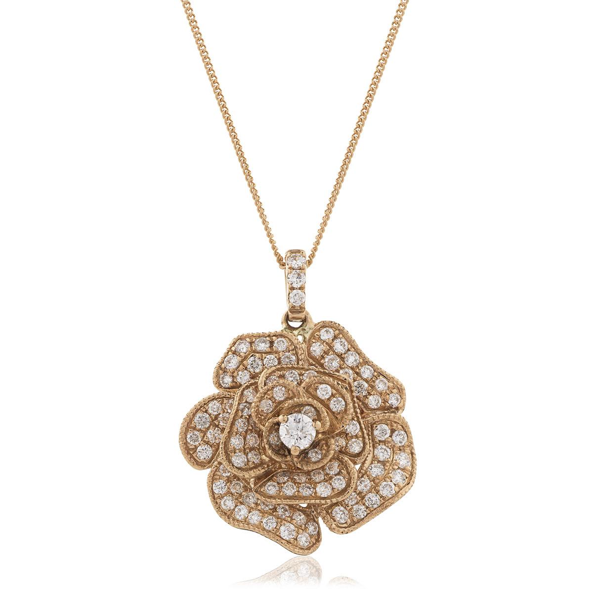 3D Pave Rose Diamond Pendant