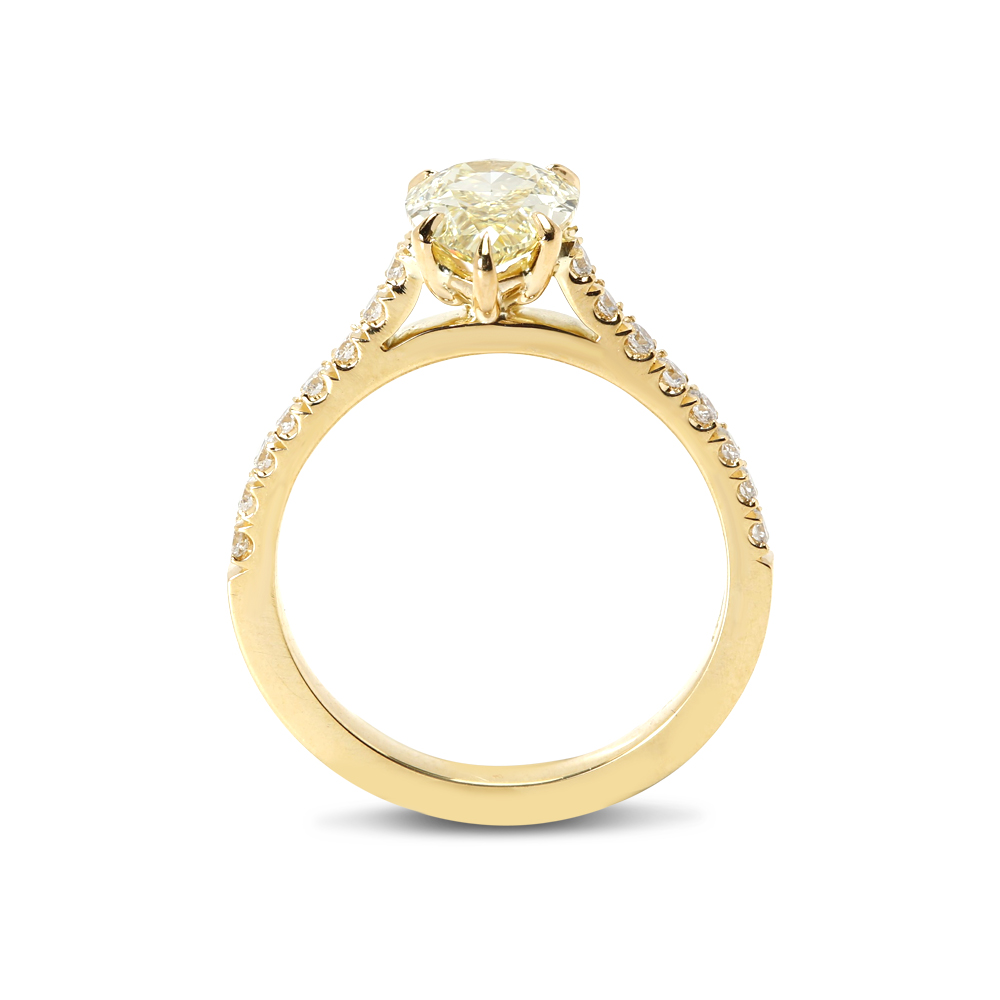Pear Cut Yellow Diamond Engagement Ring