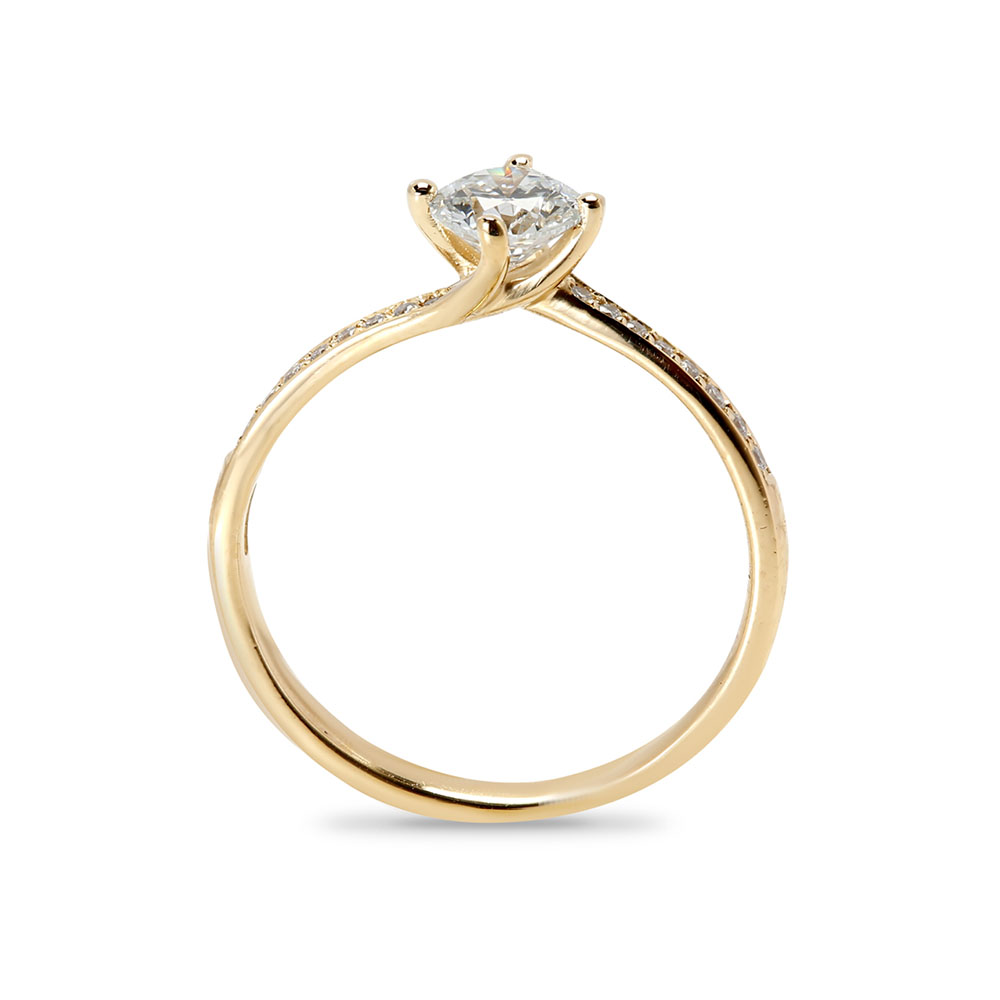 Twist Pave Lab Grown Diamond Engagement Ring