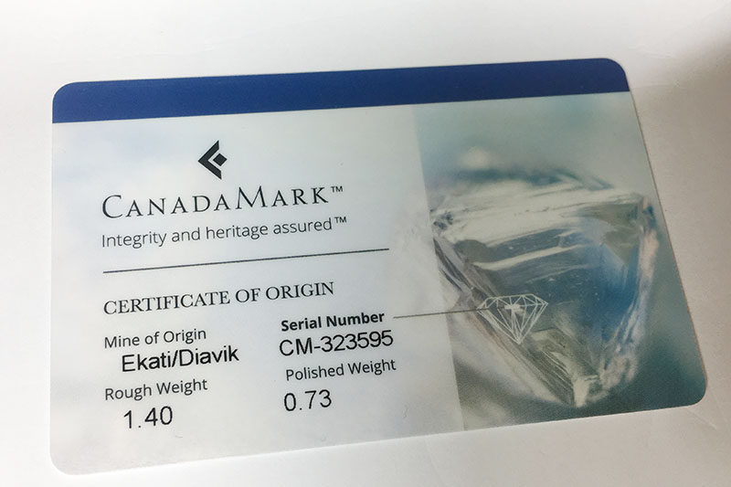 CandaMark Diamond Certificate