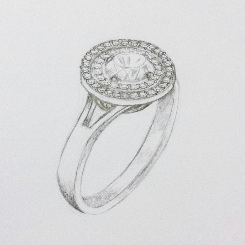 Double halo diaomnd ring setting
