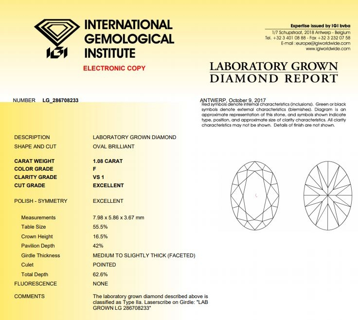 IGI LAb Grown Diamond Grading Report
