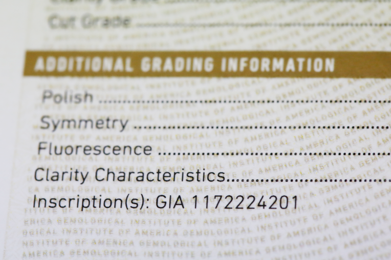 GIA laser inscription number on the additional grading information section on your GIA grading report