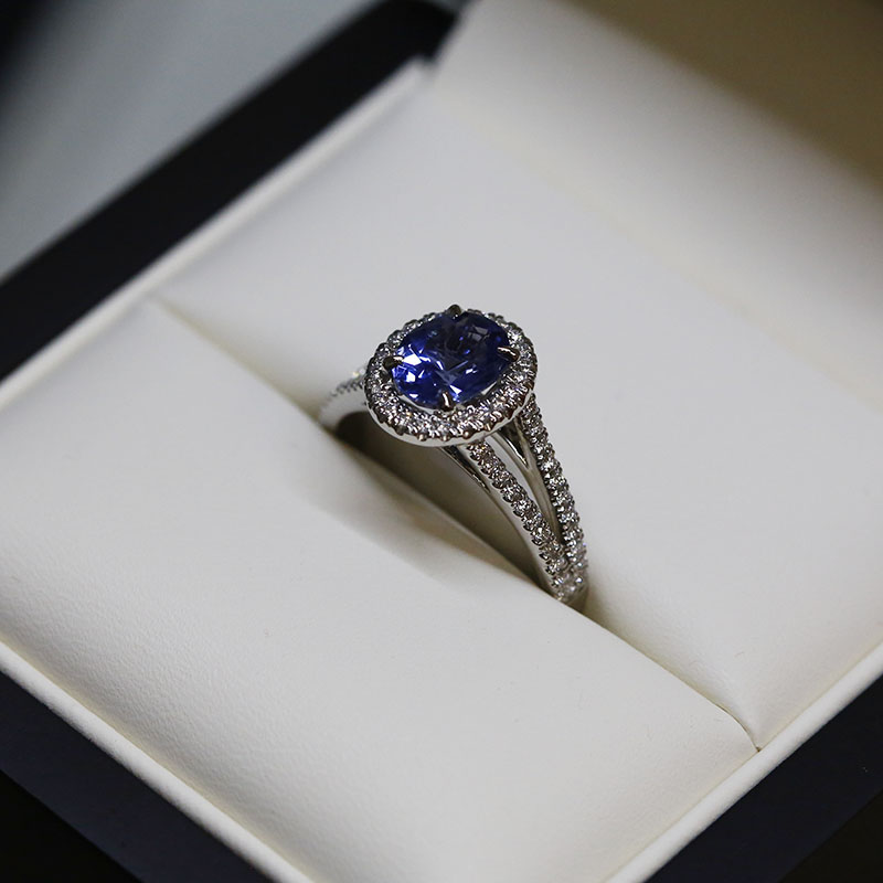 Blue Sapphire Oval Halo Ring