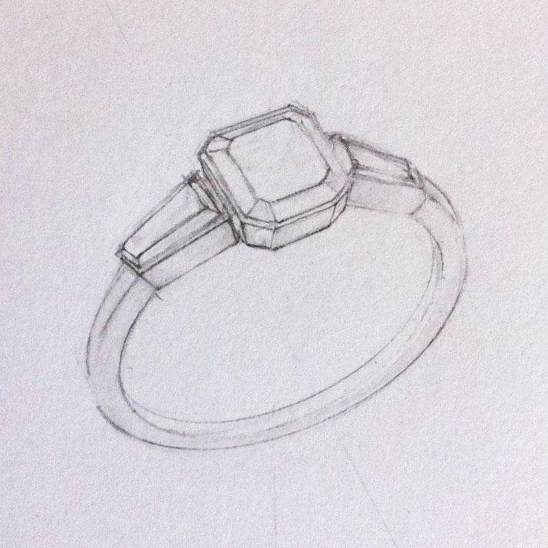 Tapered baguette side stones diamond ring