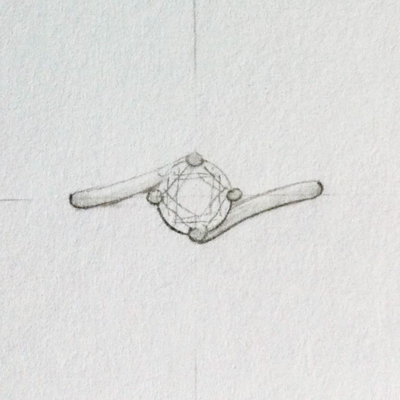 Twist setting engagement ring top view