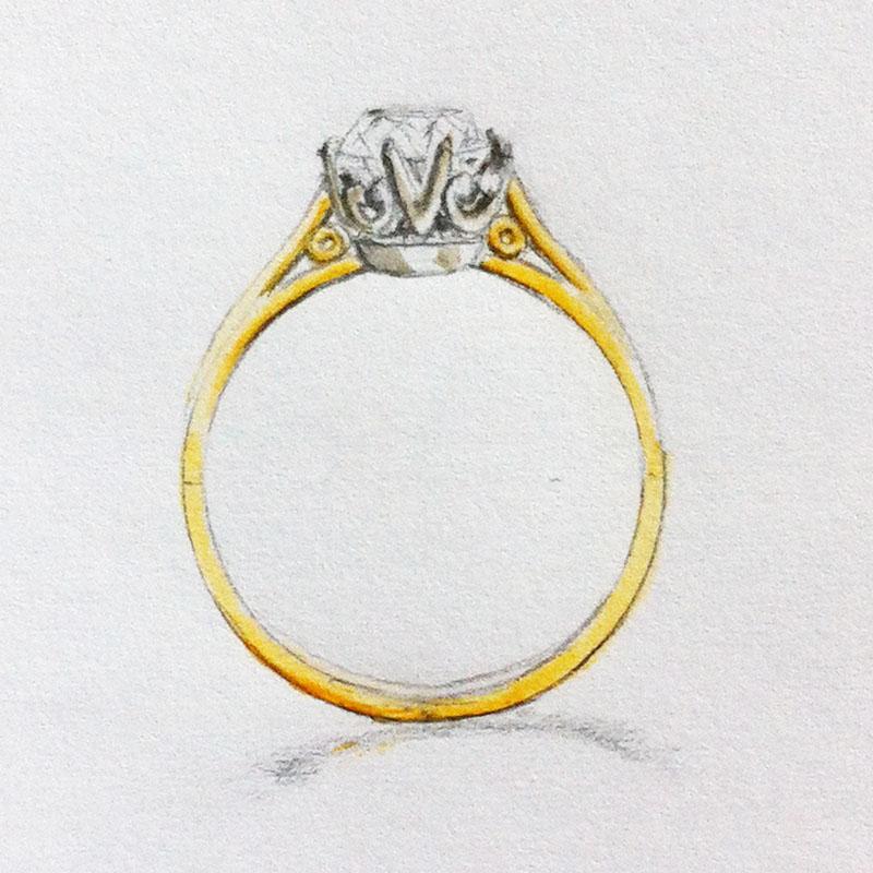 Two Metals Diamond Ring